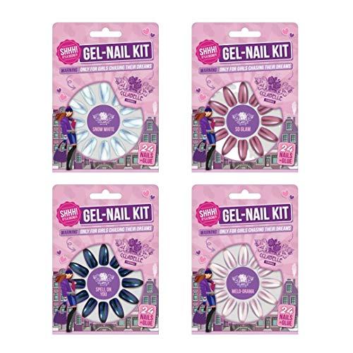 GEL-NAIL KIT von CCL BEAUTY FAKE NAILS KUNSTNÄGEL Nail Tips NAGELSET MATT HOLOGRAM (SET OF 4) 96 STÜCK PASTEL HOLO und CHROME EFFEKT FARBEN Nägel zum aufkleben mit Nagelkleber Extra Stark inkludiert