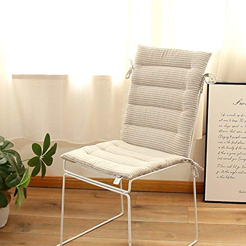 Z-one Cotton Chair Pad Backrest Lounge Chair Cushion With Ties Striped Upholstered Soft Seat Cushion Rocking Chair Car Garden -gray 2 Pack 43x98cm