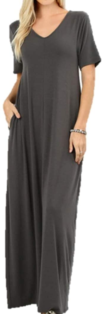 Zenana Women's Premium Casual Long Relaxed Loose T-Shirt Maxi Dress with Half Sleeves and Pockets (S-3XL)