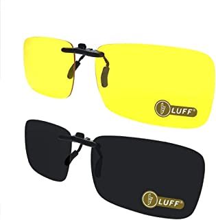 LUFF 2-Pair Polarized/Night Vision Clip on Sunglasses/Myopia Glasses for Driving