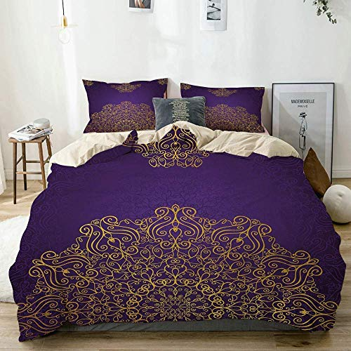 Duvet Cover Set Beige, Decorative Ornament Motifs Revival Swirling, Decorative 3 Piece Bedding Set with 2 Pillow Shams