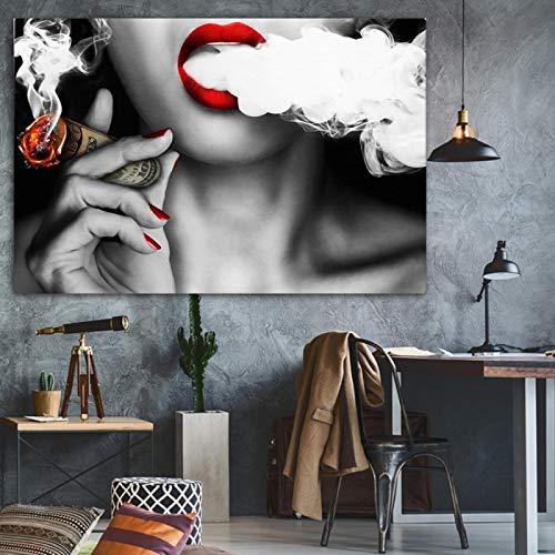 Póster Mujer con impresión de dinero Pintura de pared Impresión de imagen en lienzo Sin marco Idea Decoración creativa del hogar 50x70cmx1PS noframe