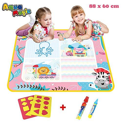 PUZ Toy Kinder Spiele ab 2 Jahre Mädchen Aqua Wasser Doodle Matte Prinzessin Wasser Gekritzel Matte 88*60cm Zaubertafel Geschenk für Mädchen 1-3 Jahre mit 2 Stiften Weihnachten Geburtstag Geschenke
