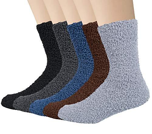 5 Pares de Calcetines Hombre Calcetines Térmicos Cálidos de Invierno Regalos de Color Puro para Hombres Mujeres Talla EU 42-46