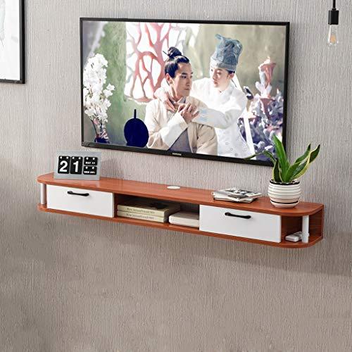 Meuble de télévision Mural en Bois Massif Console TV Meuble TV Étagère Murale Étagère Flottante Rack de Suspension Set Top Box Étagère de Rangement pour routeur (Couleur : Brown)