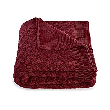 Soft 100% Cotton Throw Blanket for Couch Sofa Bed Red 51 x 67 Inch
