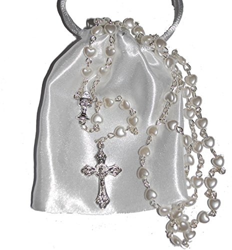 Beautiful White Heart Rosary Beads - Girls & Boys Gift - Perfect First Rosary, Baptism, Christening, Communion or Confirmation Present. Excellent Quality Five Decade Heart Shaped Rosary bead set supplied with FREE white satin drawstring pouch. Ideal gift for all Catholic Christian religious occasions including Birthday New Baby Mothers Day Fathers Day Christmas Baby Shower Memorial Anniversary Wedding etc. Suitable for all ages. Ideal for praying this inspirational catholic devotion