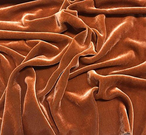 Iridescent Pumpkin Orange - Silk Velvet Fabric