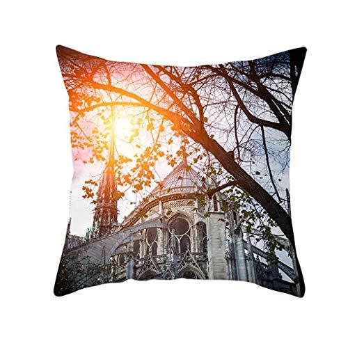 Retro Cushion Cover London Paris City Street Scenery Pillowcase Home Decor, Home Decor Sales,for Halloween Day (P)