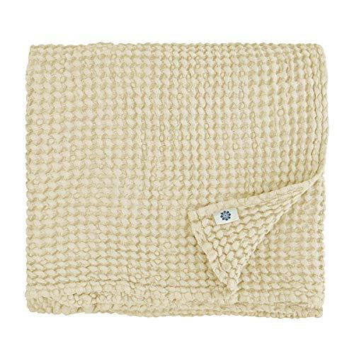 Linen & Cotton Lujo Toallas de Baño Ezra - 48% Lino, 52% Algodón (50 x 70cm, Beige)