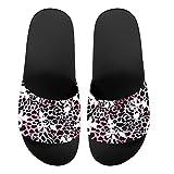 Howilath Pink Leopard & Flower Sandalias una sola banda para mujer Zapatos verano tacón bajo con punta abierta guepardo antideslizantes Peso ligero EU 39