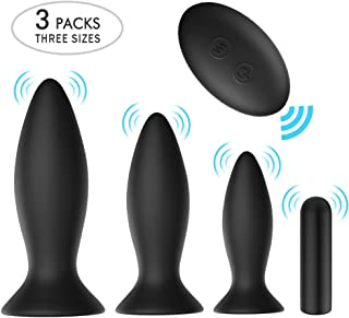 Anal Plug Male Prostate Massager Vibrating Butt Plug 3Pcs Training Kit 9 Vibration Modes with Remote Control Anal Vibrator Sex Toys with Suction Cup Base for Male, Female and Beginner