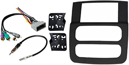 Radio Stereo Double Din Navigation Black Bezel Installation Kit + Factory Infinity Systems Wire Harness Compatible with 2002 2003 2004 2005 Dodge Ram (1500, 2500, 3500)
