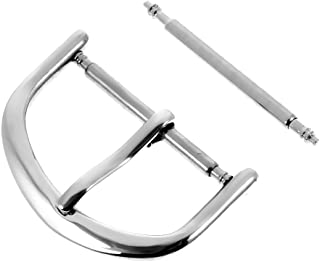 F Fityle Silver Tone Stainless Steel Pin Buckle Leather Replacement Clasp 18mm 20mm 22mm