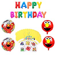 セサミストリート 誕生日 飾り付け 可愛い エルモ 子供 男の子 女の子 レッド 人形 キャラクター happy birthday バナー ガーランド バルーン 風船 ケーキトッパー 17枚セット