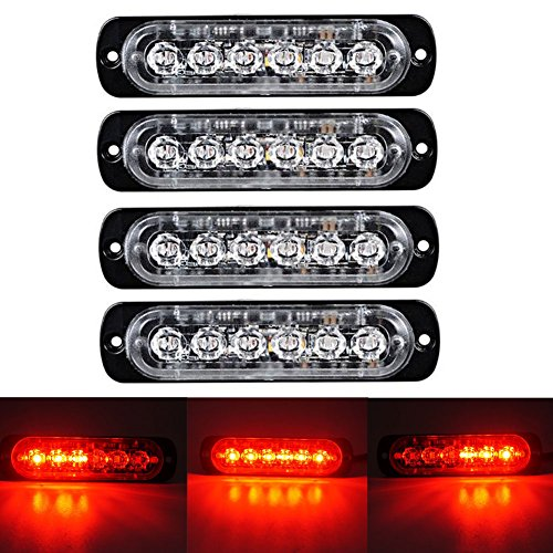 XT AUTO 6LED Car Truck Emergency Beacon Warning Hazard Flash Strobe Light Red/Red 4-Pack