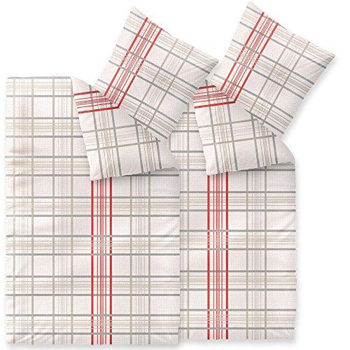 CelinaTex Enjoy Bettwäsche 135 x 200 cm 4teilig Baumwolle Bettbezug Seersucker Bille Kariert Beige Rot Grau