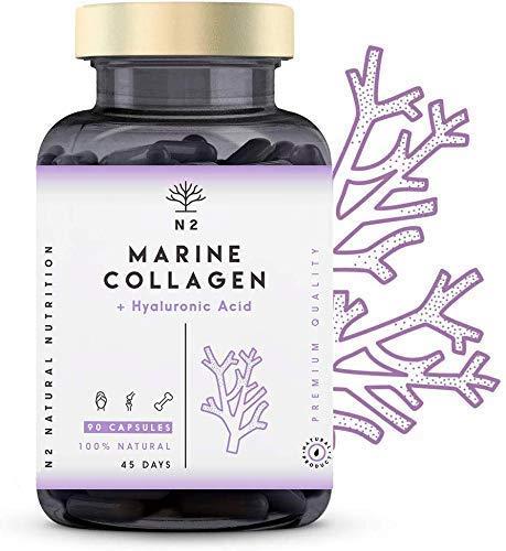 Collagene Marin et Acide Hyaluronique Magnésium Vitamine C. Peptide de Collagene PEPTAN anti rides. Anti age. Aide à Articulations, Os, Peau et Cheveux. Hydrolisé. UE. 90 gélules.N2 Natural Nutrition