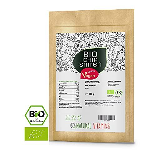 NATURAL VITAMINS® Bio Chia Samen 1 kg I Laborgeprüfte Qualität 100{f80de030d3ad979f94be07624f01608c0b2fd3d353fe80f7fa242868bbadaf8c} naturbelassen I Bio, Vegan, reich an Omega-3 I Aus kontrolliert ökologischem Anbau