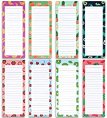 LARGE PAGE SIZE 60 SHEETS - 8 Large magnetic memo pads measure 9'' Height x 3.5'' Width in inches. Contains 60 sheets of quality uncoated paper with 8 realistic fruits themes, total 8 unique large note pads magnetic. HIGH-QUALITY MAGNETIC BACKER - Ea...