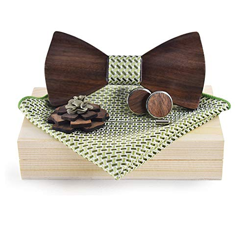 Tie Freizeit Herren Holz Fliege Mode Manschette Ärmel Taschentuch Business Holz Fliege (Farbe : Green, Größe : 5 * 9.5cm)