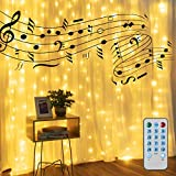 Merkury Innovations 300 Flashing LED Music Sync Curtain Lights with USB, Hanging LED Remote Control String Lights with Hooks, 10 Strands 9 ft Curtain LED Lights
