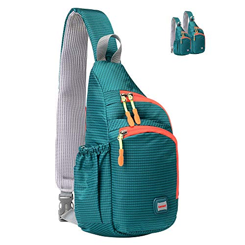 Lecxci Small Sling Backpack Waterproof Unisex Shoulder Bag Chest Crossbody Daypack(S,cyan-green)