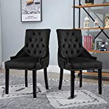 <span class='highlight'><span class='highlight'>4HOMART</span></span> Set of 2 Velvet Dining Chairs Upholstered Kitchen Chairs Studded with Arms Knocker Ring Occasional Side Armchairs for Restaurant Living Room Home