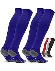 Voetbalsokken voor kinderen en heren, 2 paar, EU-maat 27-46, sportsokken, trainingssokken, sokken voor voetbal, hardlopen, training
