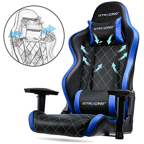 GTRACING Gaming Chair Big and Tall 350lb Gaming Chair Metal Base Adjustable Lumbar Cushion, High Back Ergonomic Leather Racing Computer Desk Executive Office Chair