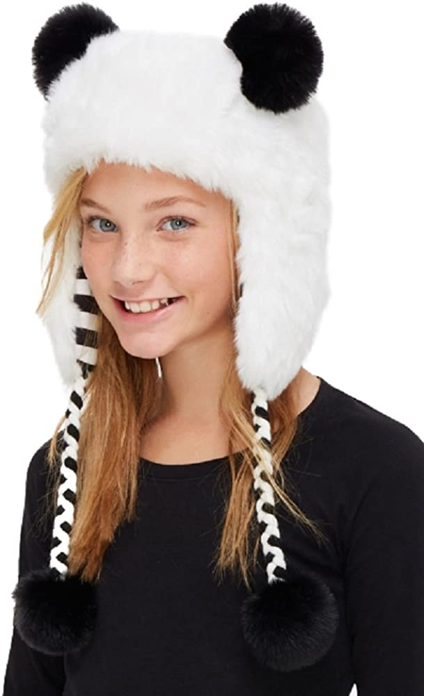 Justice for Girls Cozy Faux Panda Hat with Pom-Pom Ears and Pom-Pom at Tie Ends