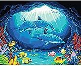 Pintura De Bricolaje Por Números Art Craft De Home Pared Decoración Para Niños Adultos Regalo Dibujo Kits Delfín 40X50Cm