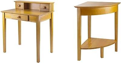 Winsome Wood Studio Home Office, Honey & Wood Corner Desk with Shelf, Honey