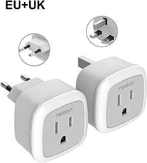 European UK Travel plug adapter kit-TESSAN International Mini EU power plug- American Sockets input - Outlet Adaptor for US to Europe, Germany, England, Spain, Italy, Iceland, France (Type G & Type C)