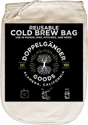 (1-Pack, Medium 8in x 12in) Organic Cotton Cold Brew Coffee Bag - Designed in California - Reusable Coffee Filter with EasyOpen Drawstring Cold Brew Maker for Pitchers, Mason Jars, Toddy Systems