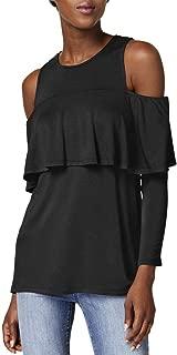 kensie Womens Cold Shoulder Ruffled Blouse