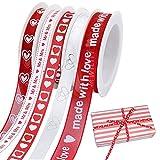 VDSOW Cinta para envolver regalos, 5 rollos (10 mm de ancho), color blanco y rojo para San Valentín, cumpleaños, Navidad, para coser lazos, manualidades, decoración de tartas