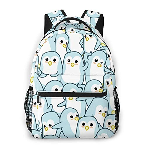 Lawenp Fashion Unisex Backpack Cartoon Penguin Pattern Bookbag Lightweight Laptop Bag for School Travel Outdoor Camping