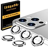 [5 Pack] UniqueMe Camera Lens Protector Compatible for iPhone 12 Pro Max 6.7 inch, [Precise Cutout] Bling Camera Cover Circle Tempered Glass - Diamond Silver