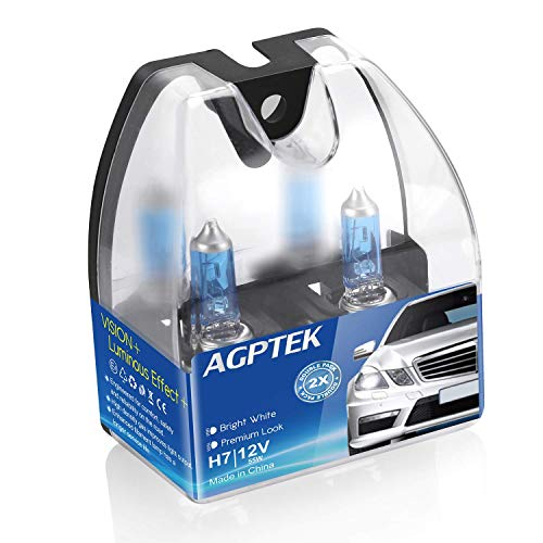 AGPTEK H7 Halogen Headlight Bulb with Super White Light 12V/55W 5000K, High Performance Long Life Fog Replacement Bulb,2 Pack