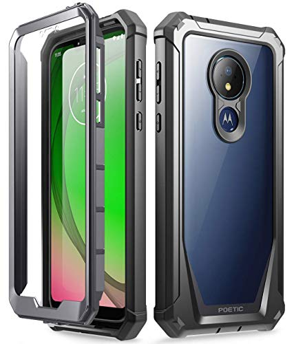 Moto G7 Power Case, Moto G7 Supra Case, Moto G7 Optimo Maxx Case, Poetic Full-Body Rugged Clear Hybrid Bumper Case, Built-in-Screen Protector, Shock Proof, DO NOT FIT Moto G7 Or Moto G7 Play, Black