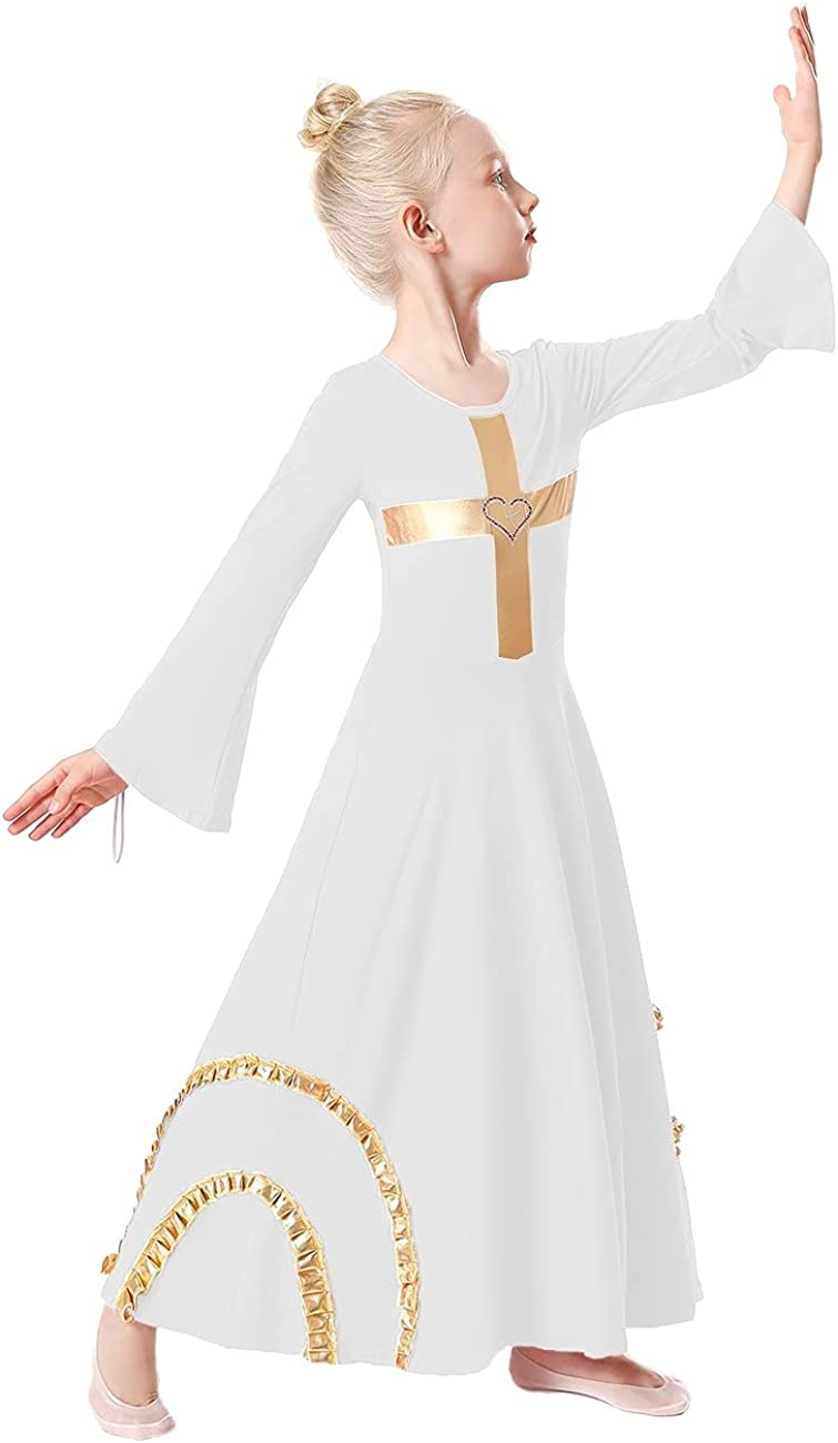 Free shipping anywhere in the nation FMYFWY Girls Cross Robe Bell Dress Dance Popular shop is the lowest price challenge Praise Liturgica Sleeve