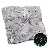 Exqline Glow in The Dark Throw Blanket - Fun Birthday Gift for Kids Girls and Boys, Soft Fuzzy Plush Fleece Flannel Throw Blanket, Kids Star Blanket for All Season Grey (50x60 inches)