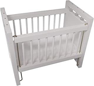 Wooden Dollhouse Miniature White Baby Crib with Padded Mattress 1:12 Scale