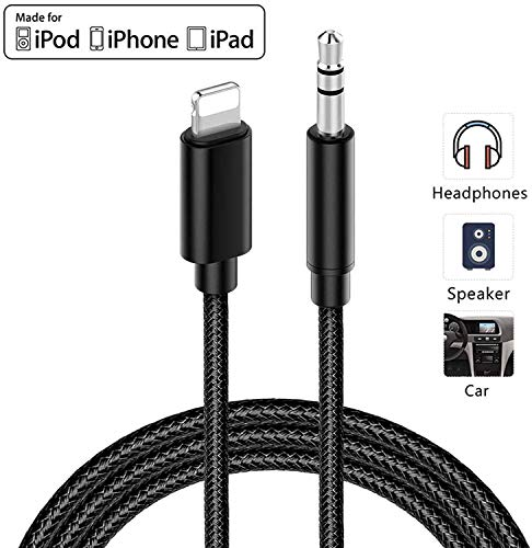 for iPhone X 11 to Car Aux Cord Cable, Lighting to 3.5mm Stereo Audio Cord Compatible for iPhone 11/11 Pro/XR/XS/X 8 7 6, iPad, iPod to Car Stereo/Speaker/Headphone, Support iOS All 11/12/13 Systems