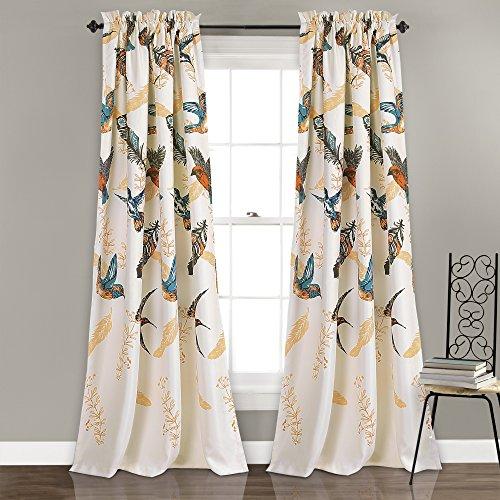 "Lush Decor Bird Breeze Room Darkening Window Curtain Panel Set, 84"" x 52""/2"", Multicolor"
