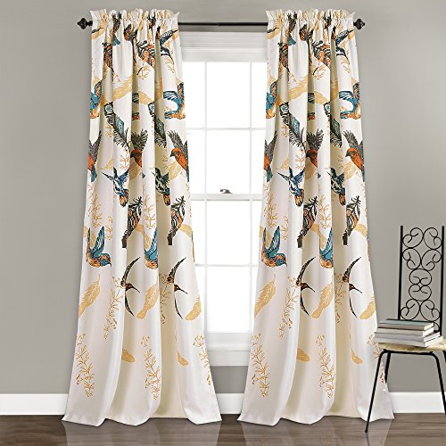 "Lush Decor Bird Breeze Room Darkening Window Curtain Panel Set, 84"" x 52""/2"", Multicolor"