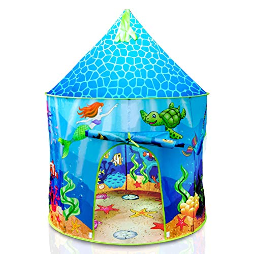 USA Toyz Under The Sea Kids Tent - Mermaid Kids Play Tent, Indoor Playhouse Tent for Boys and Girls with Included Pop Up Tent Storage Tote