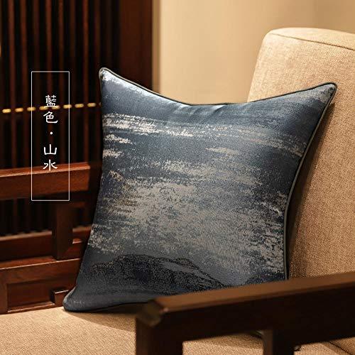 Nuevo y moderno sofá chino almohada cojín estilo chino modelo habitación almohada grande funda de almohada para el hogar-50x50 (funda de cojín)_Paisaje azul