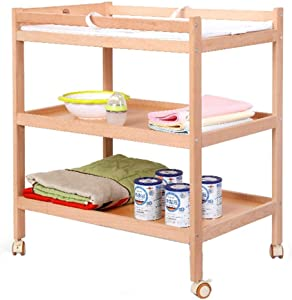 LXCS Baby care station Wooden Baby Changing Table Newborn Three-tier Storage Rack  Baby Changing Table Roller Massage Table